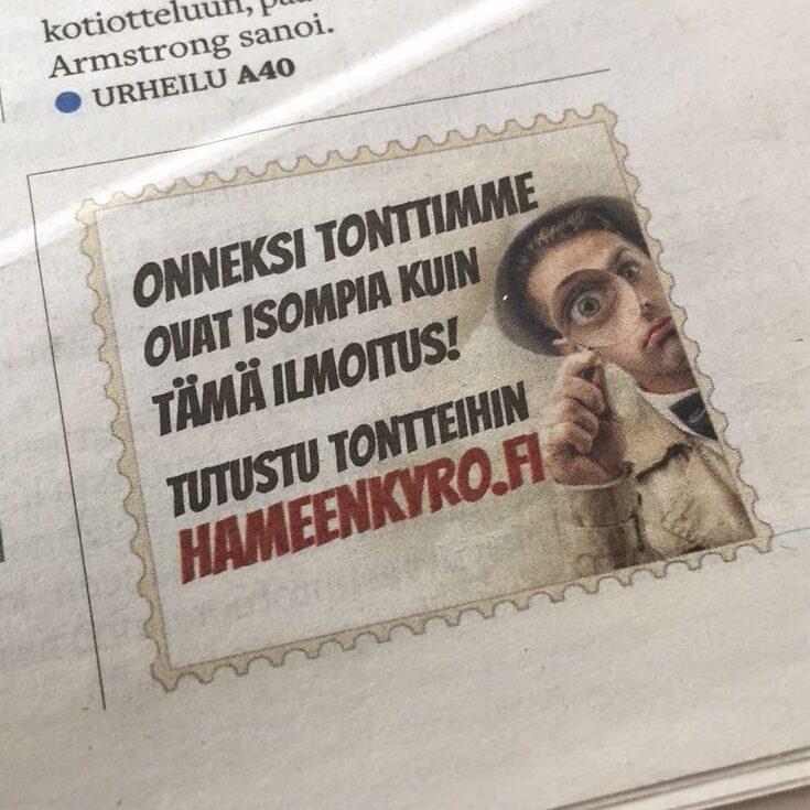 Nokkela pieni lehtimainos Aamulehdessä